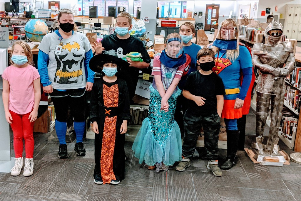 Tenino Middle School students and staff enjoying Halloween dress up day at school.