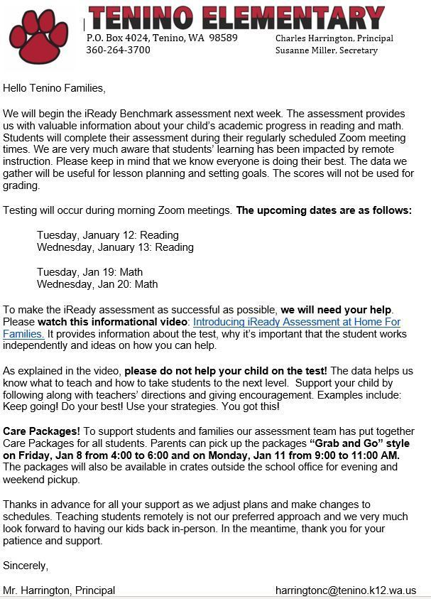 iReady Letter to Parents