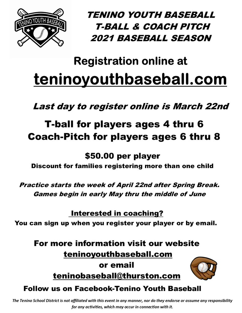Tenino Youth Baseball 2021 Season