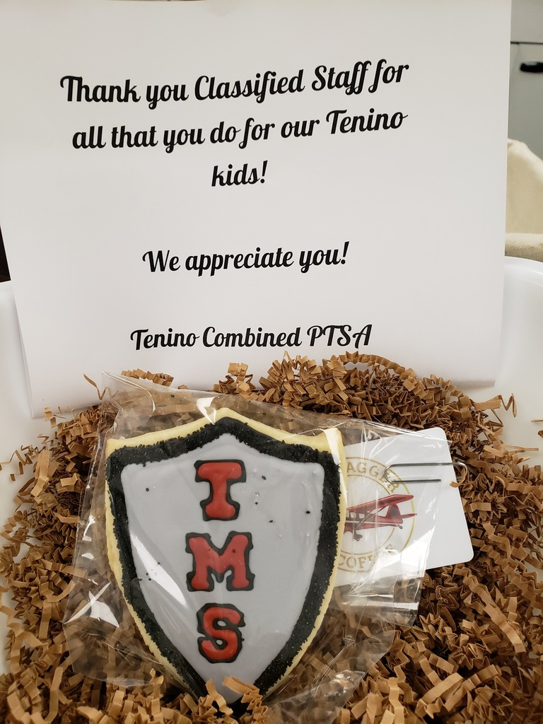 TMS classified appreciation week cookie and thank you note from the Tenino Combined PTSA