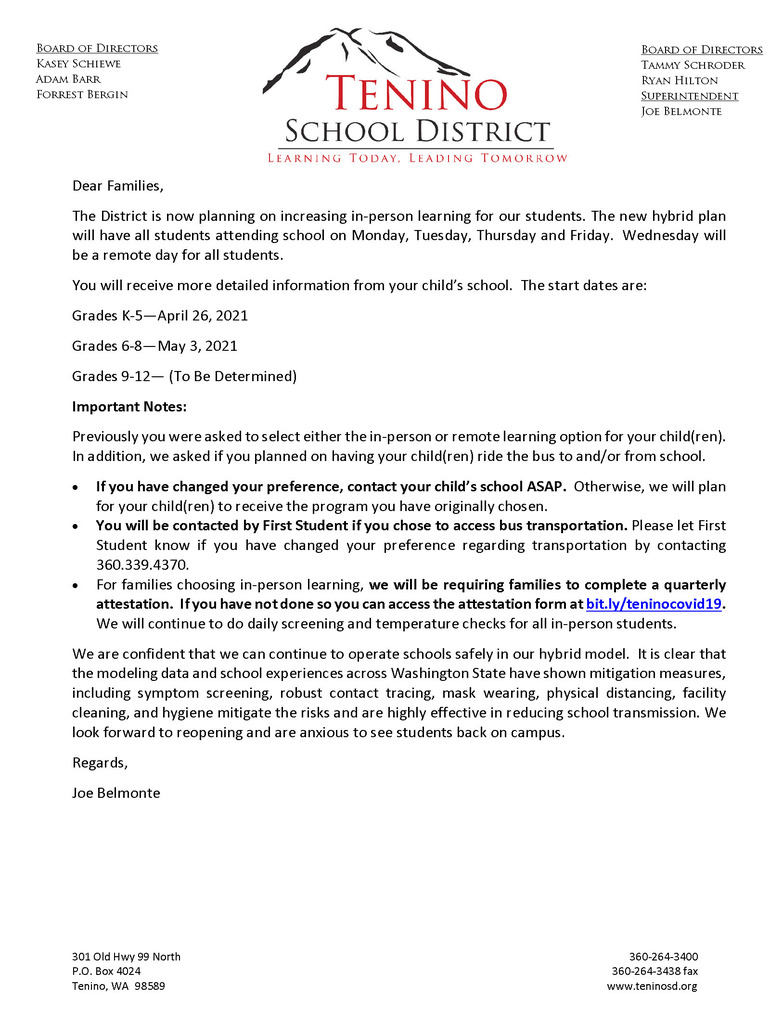 Return to School Letter Image