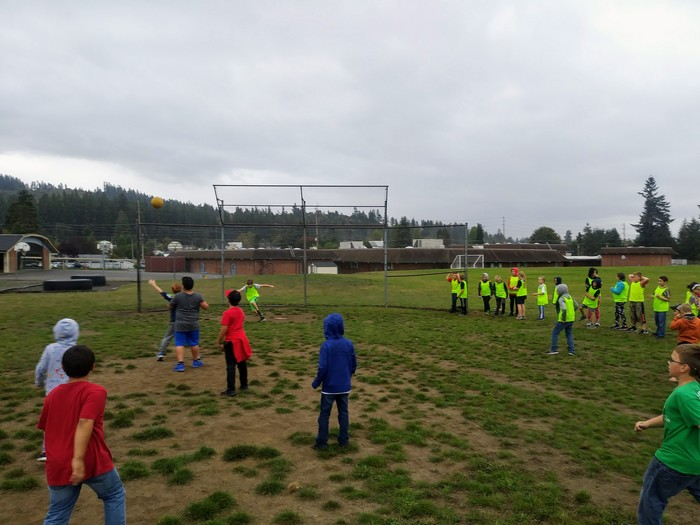 Kickball during Sports Club.