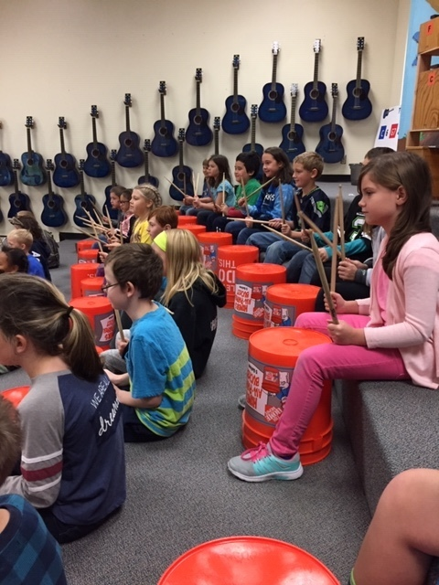 Drumming practice in music class.