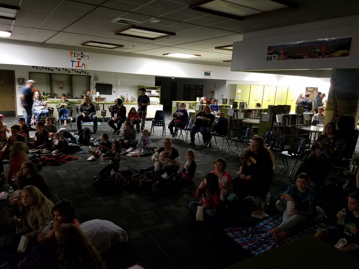 Students and parents at movie night.