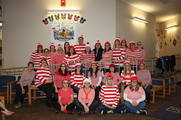 Picture of PES Staff - dressed as Where's Waldo.