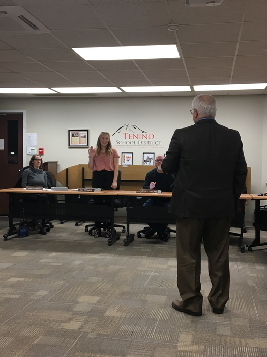 Swearing in Kat Fittinger as a School Board Student Representative.