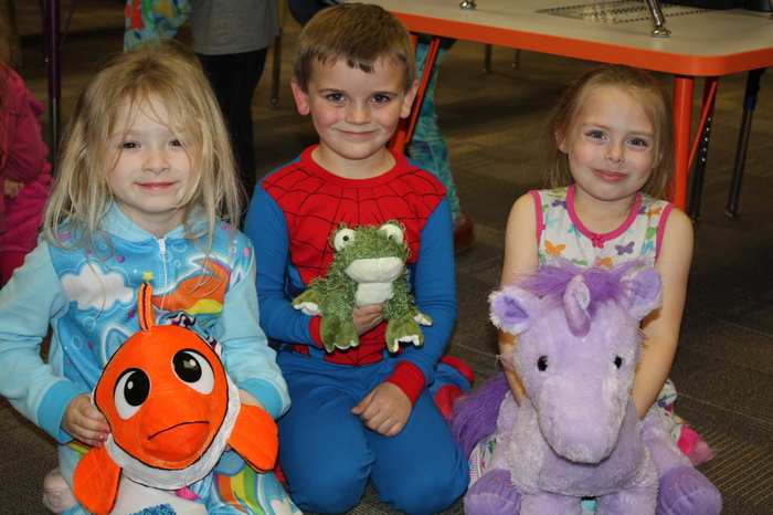 Students enjoying their stuffed animals