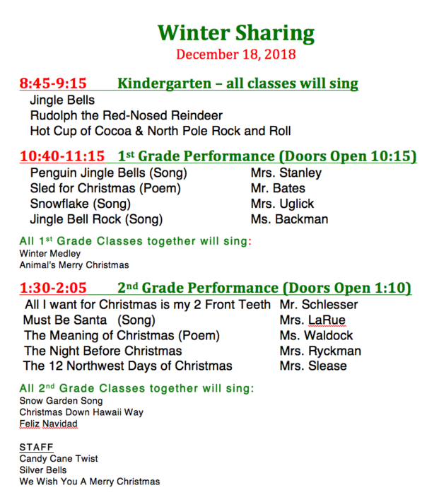Schedule for Winter Sharing Programs