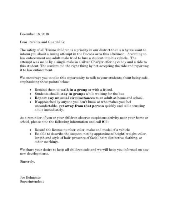 Letter about attempted luring