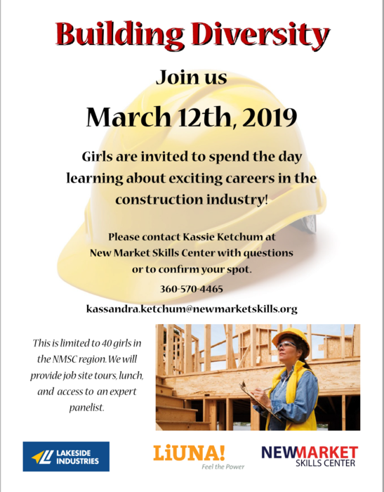 Flyer advertising event for women in construction