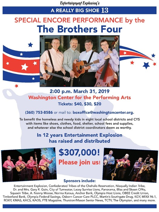 The Brothers Four concert flyer, concert is March 31, 2019