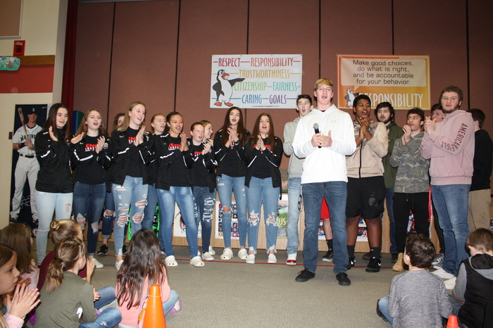 3rd Pictures = On Tenino - THS Student Athletes Singing to our Parksiders.