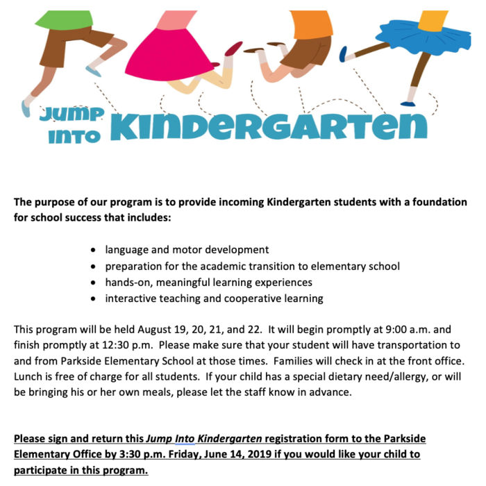 Jump Into Kindergarten Flyer