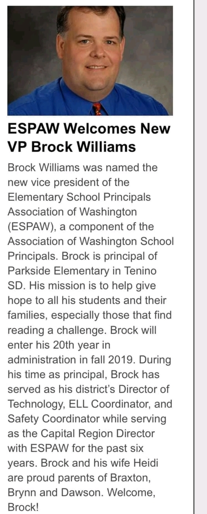 Article about Brock Williams becoming VP of the Washington Association of Elementary Principal's.