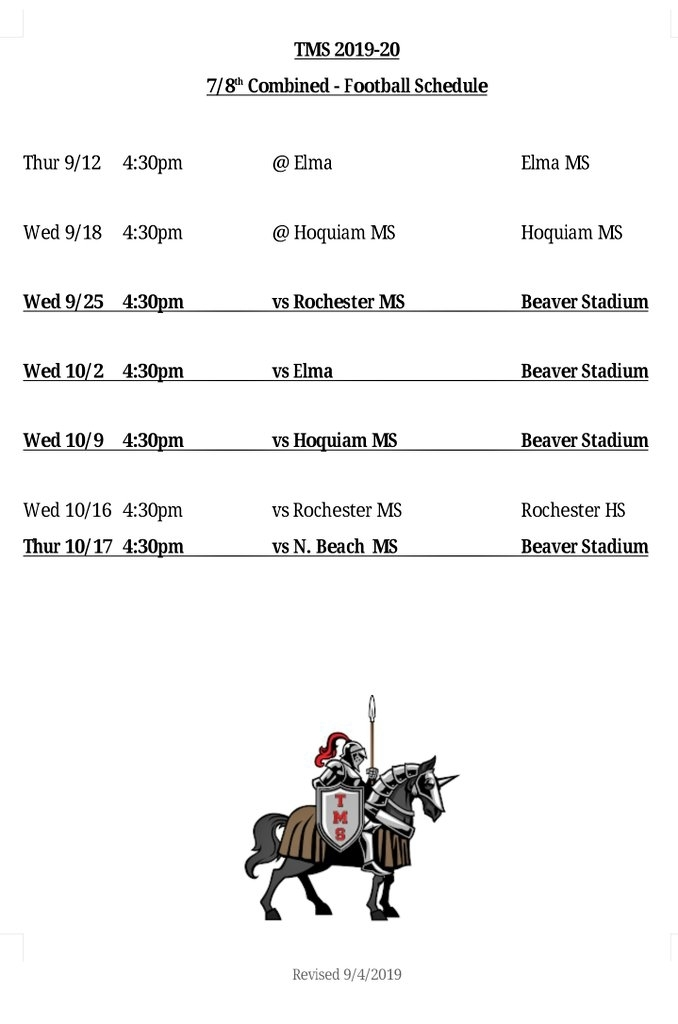 TMS Football Schedule