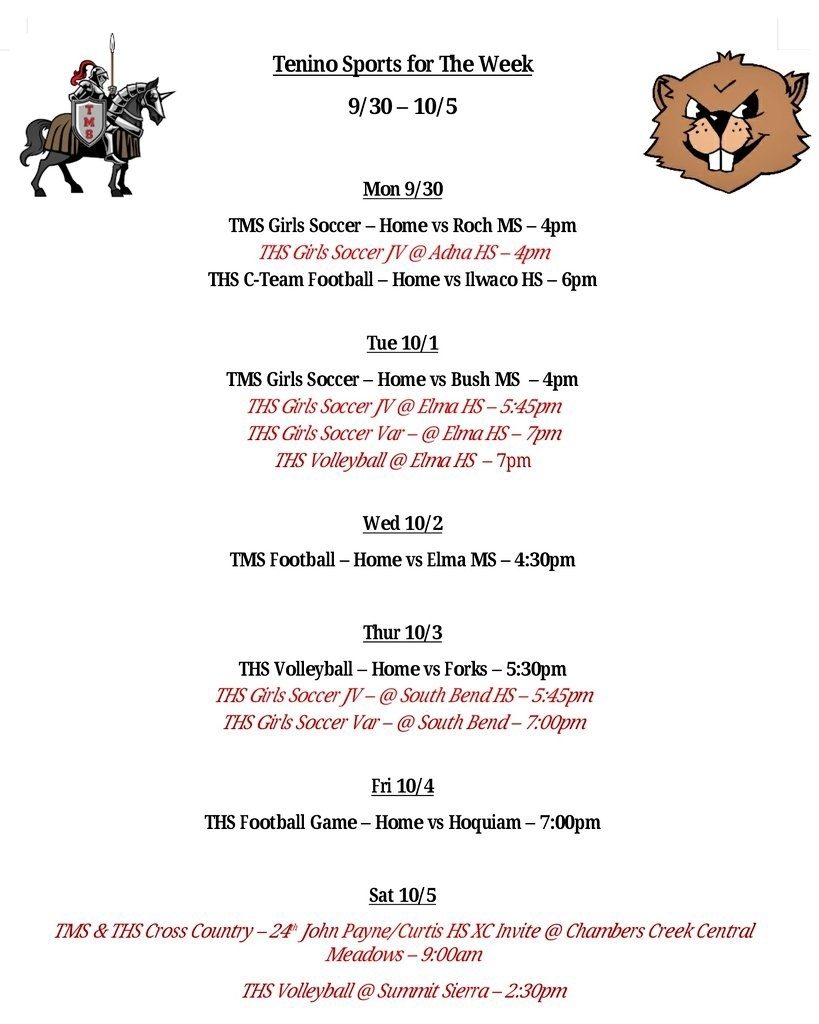 Tenino Sports for the Week 9.30 - 10.5