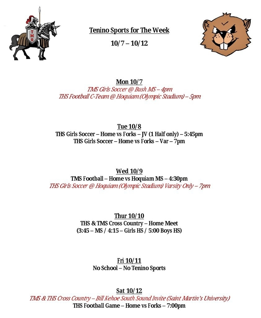 Tenino Sports for the Week 10/7 - 10/12