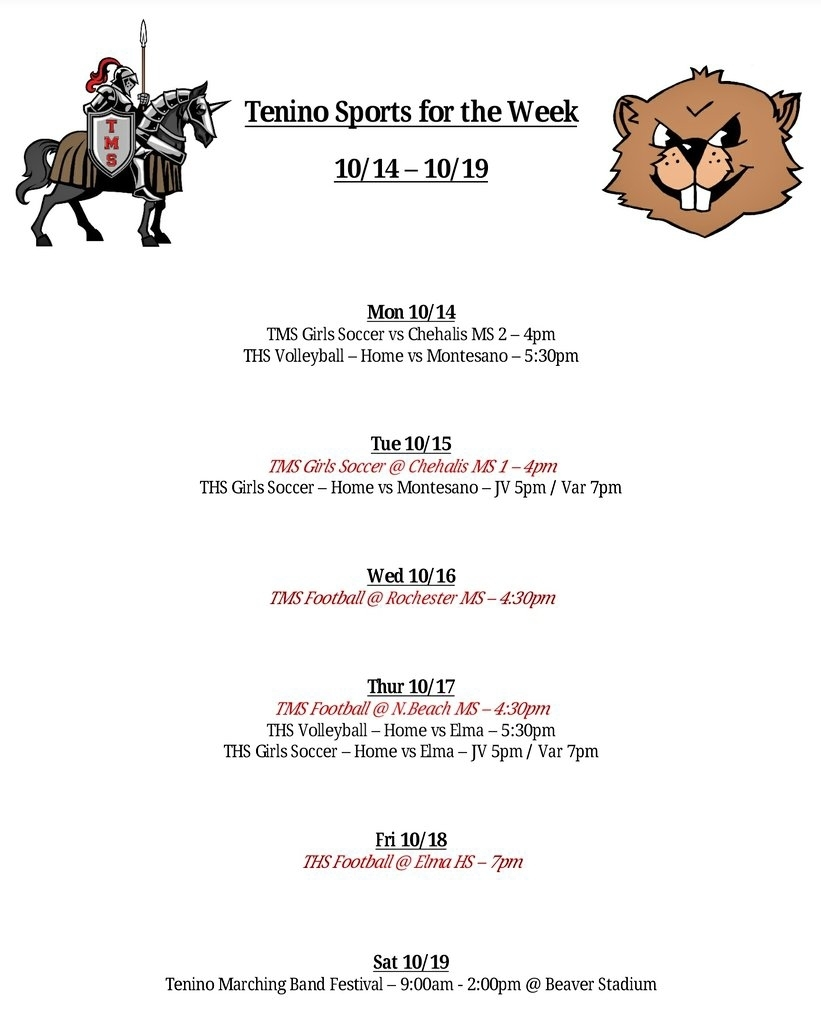 Tenino Sports foe the Week 10.14 - 10.19