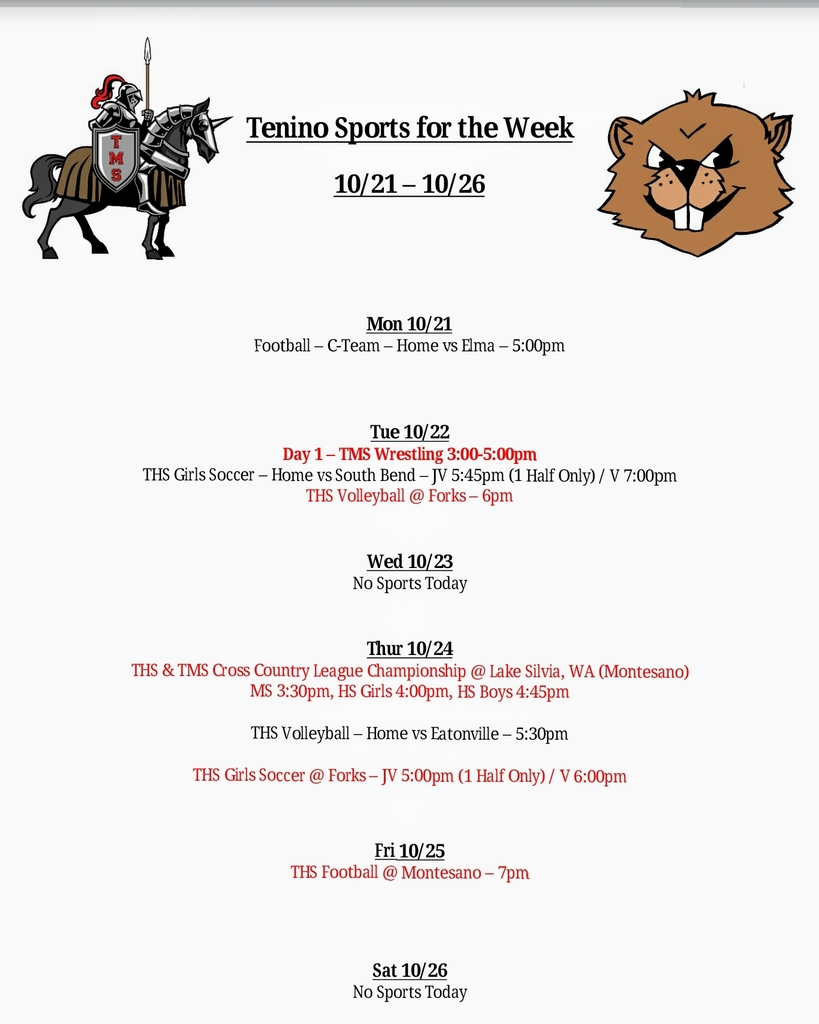 Tenino Sports for the Week 10.21 - 10.26