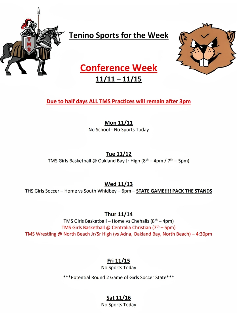 Tenino Sports for the Week 11.11 - 11.16