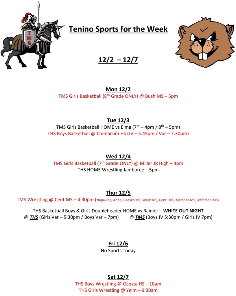 Tenino Sports for the Week 12/2 - 12/7