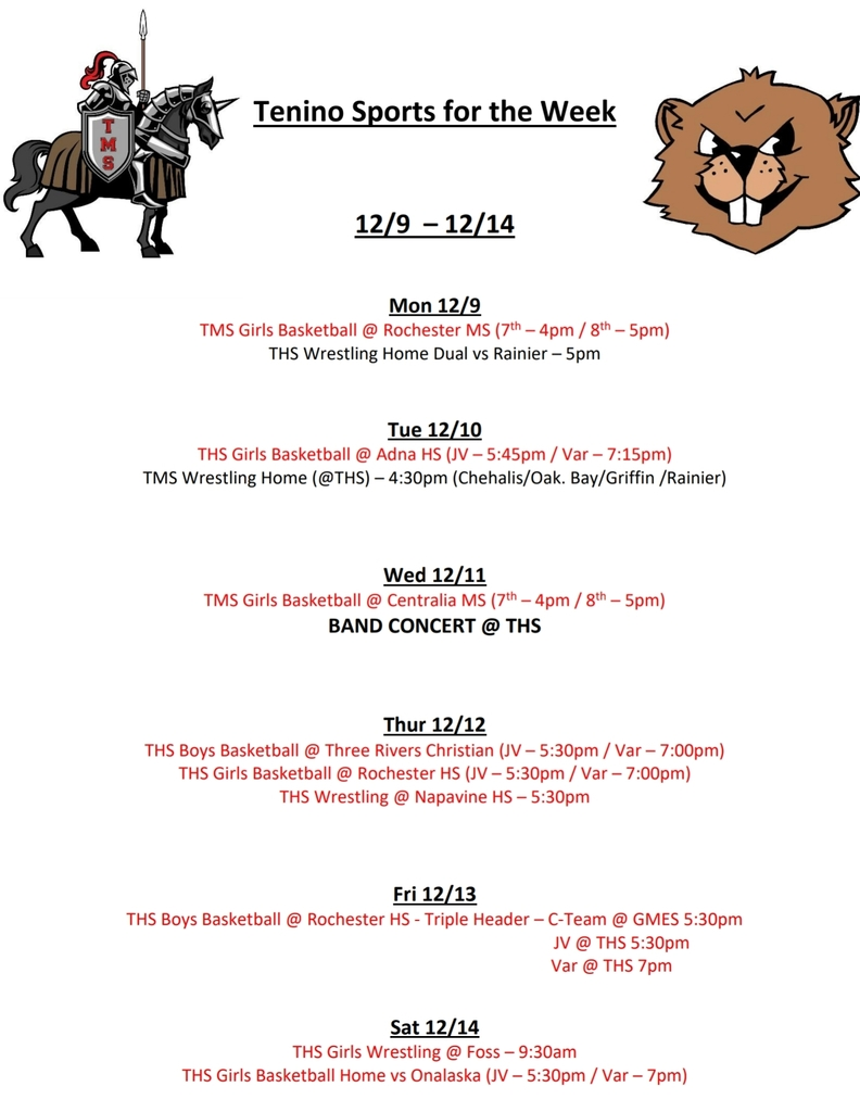 Tenino Sports for the Week 12/9 - 12/14