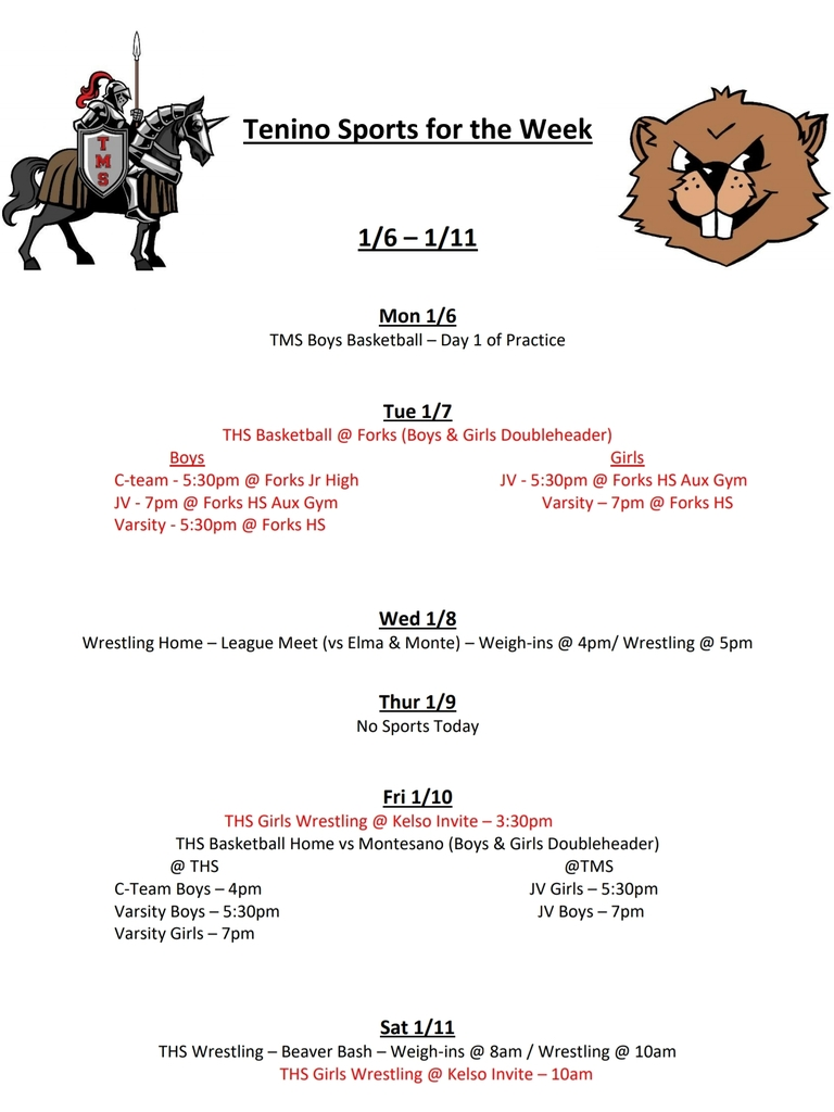 Tenino Sports for the Week 1/6 - 1/11
