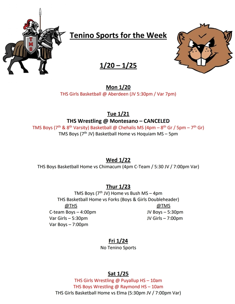 Tenino Sports for the Week 1/20 - 1/25
