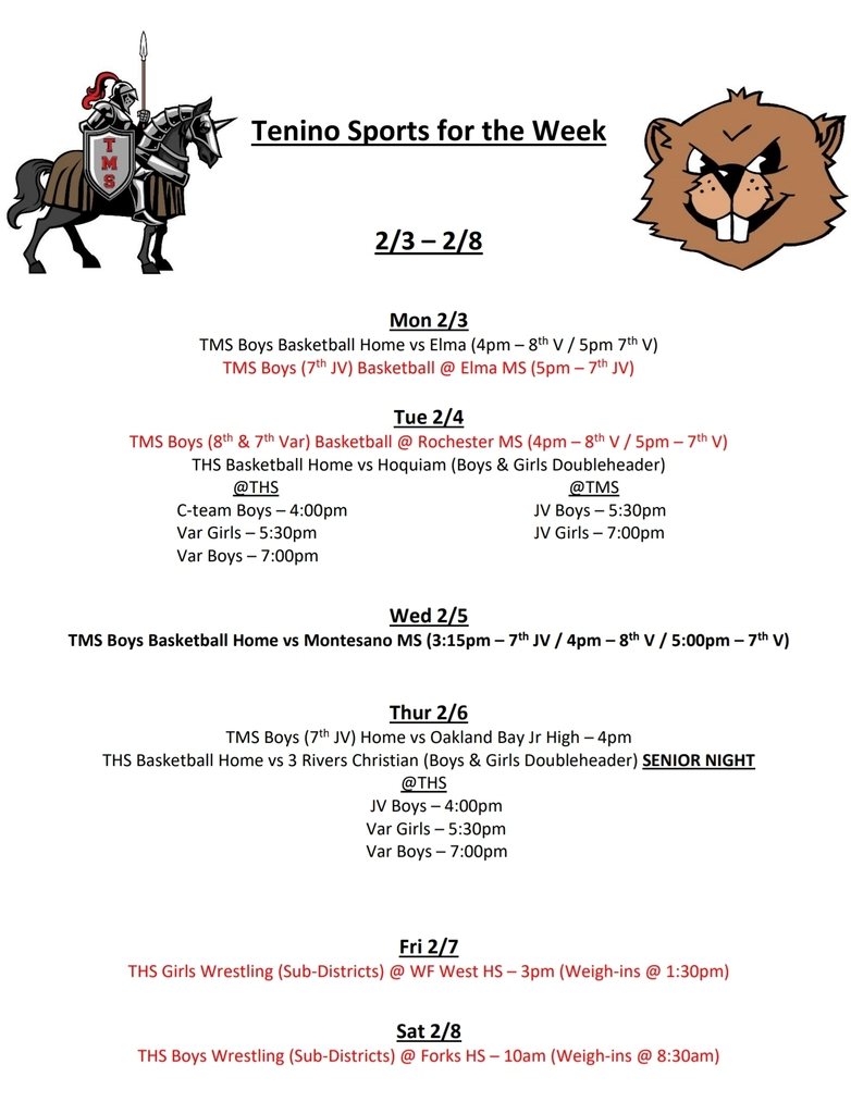 Tenino Sports for the Week 2.3 - 2.8