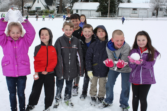 2nd Graders in the snow