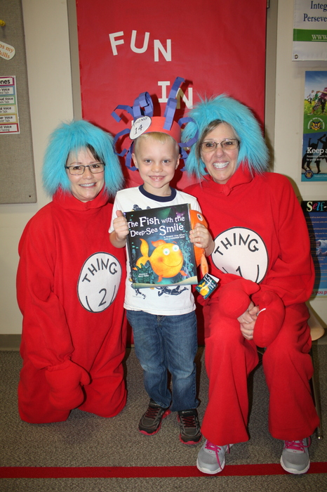 Kindergartener with Thing 1 and Thing 2
