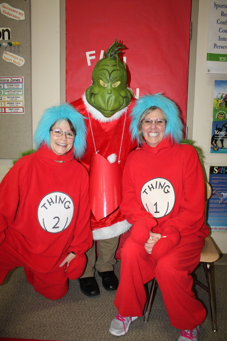Thing 1 and Thing 2 and the Grinch Celebrating