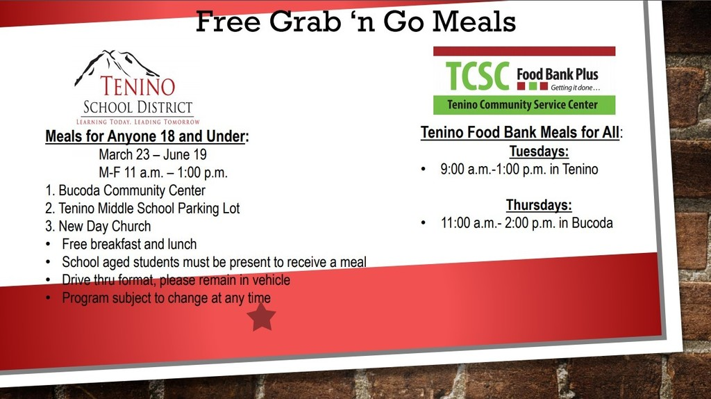 Updated information on meals available to Tenino Community.